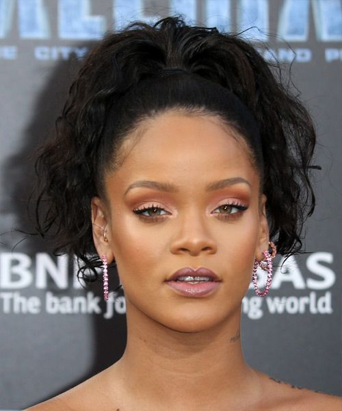 Rihanna Casual Curly Updo Hairstyle - Black