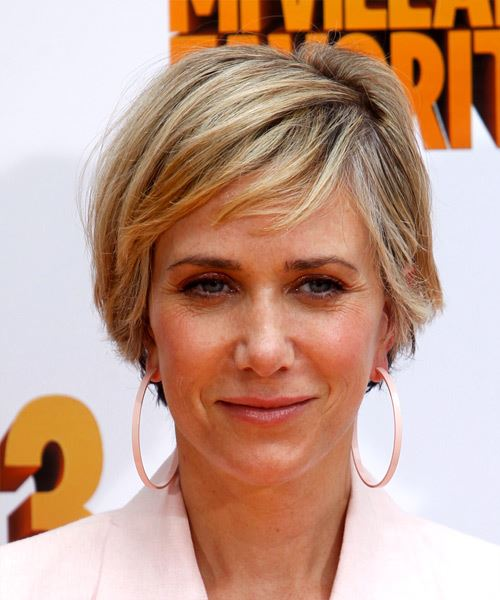 Kristen Wiig Short Straight Casual Hairstyle with Side Swept Bangs - Medium Blonde Hair Color