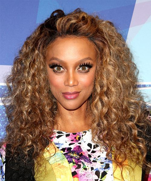 Tyra Banks Long Curly Hairstyle - Dark Blonde