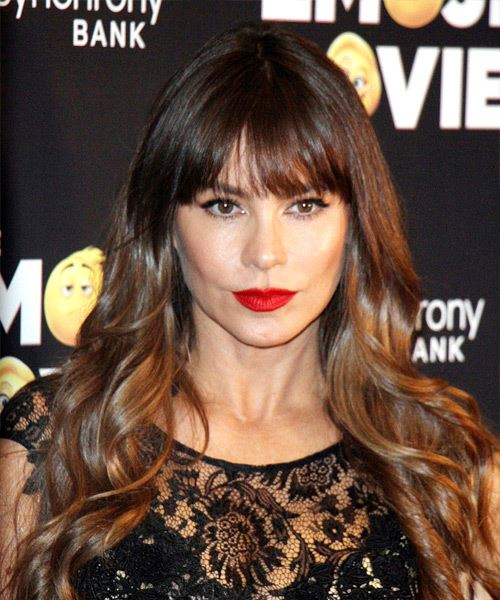 Sofia Vergara Long Wavy Casual Hairstyle with Layered Bangs - Medium Brunette Hair Color