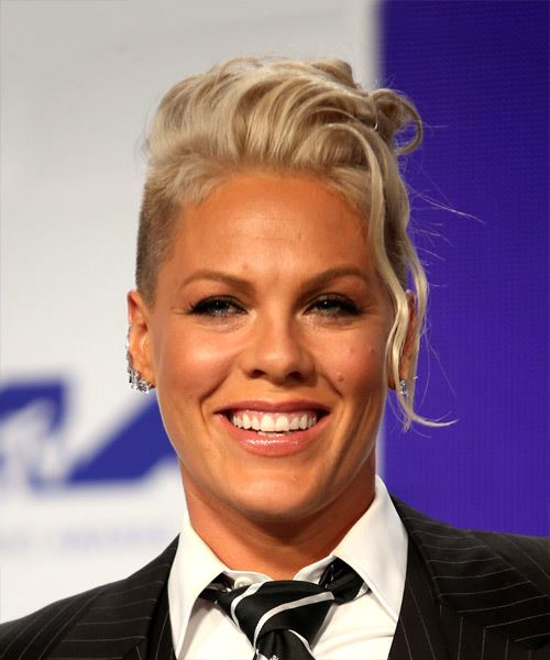 Pink Short Wavy Alternative Mohawk Hairstyle - Light Blonde (Platinum) Hair Color