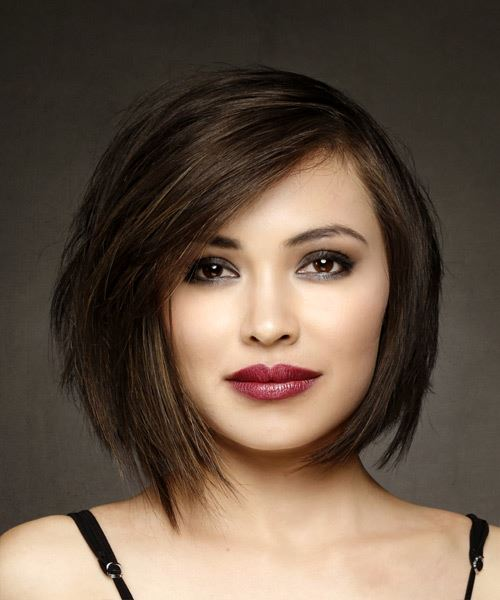 Short Straight Formal Bob Hairstyle with Side Swept Bangs - Medium Brunette Hair Color