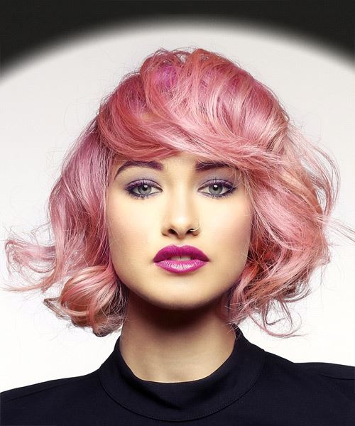 Short Wavy Casual Bob Hairstyle with Layered Bangs - Pink Hair Color