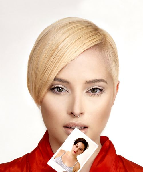 Short Straight Formal Pixie Hairstyle with Side Swept Bangs - Light Blonde (Golden) Hair Color