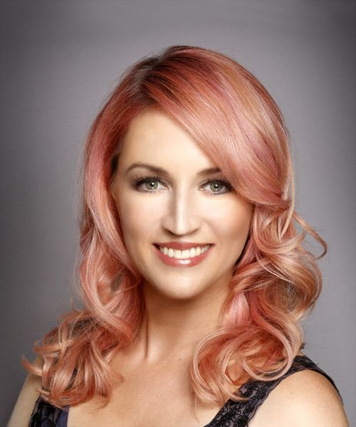 Medium Wavy Formal Hairstyle with Side Swept Bangs - Pink Hair Color