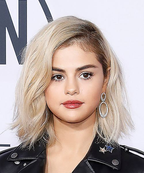 Selena Gomez Medium Wavy Casual Bob Hairstyle - Light Blonde Hair Color