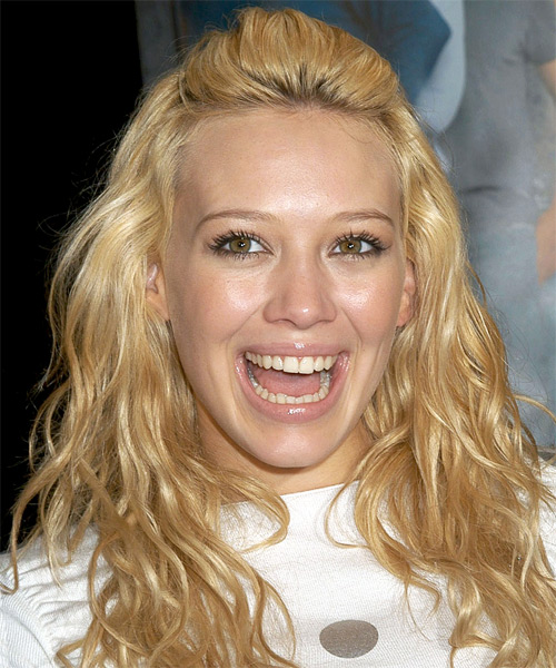 Hilary Duff Long Wavy Casual Hairstyle - Medium Blonde (Honey) Hair Color