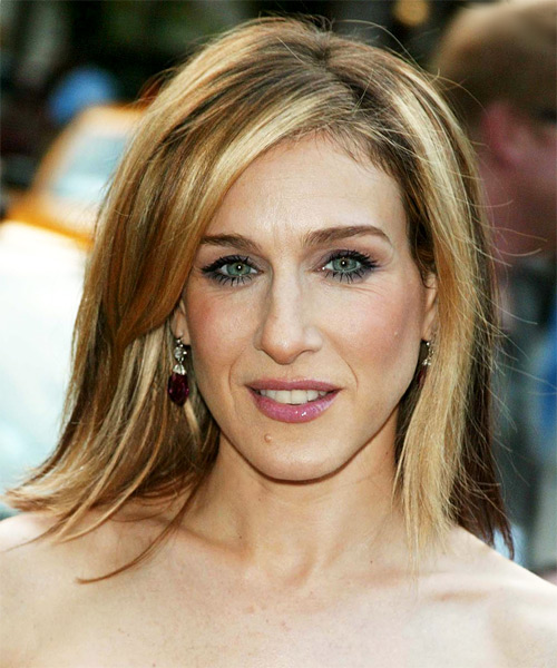 Sarah Jessica Parker Medium Straight Casual  with Side Swept Bangs