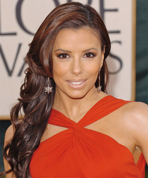 Eva Longoria Parker Long Wavy Formal Hairstyle - Medium Brunette (Auburn) Hair Color