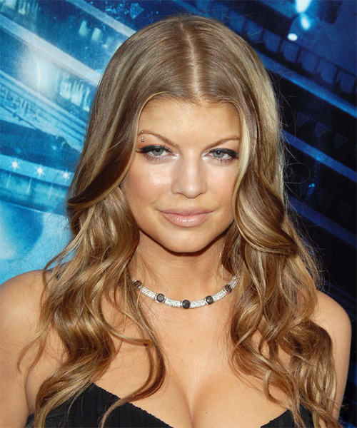 Fergie Long Wavy Hairstyle - Light Brunette (Caramel)