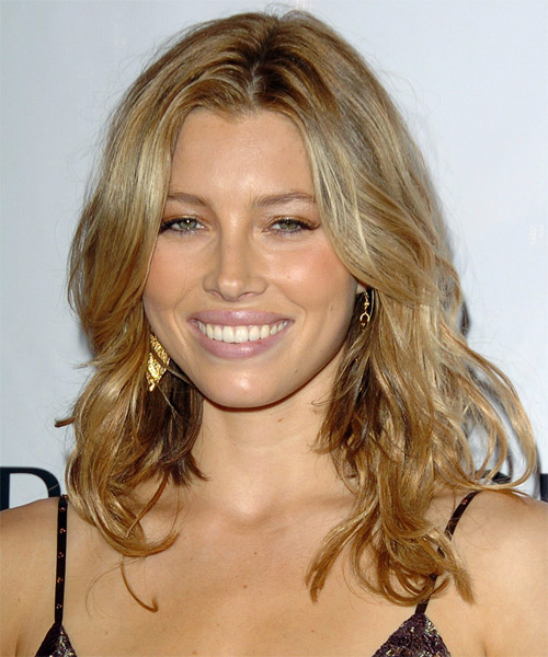 Jessica Biel Long Wavy Casual Hairstyle - Dark Blonde (Golden) Hair Color