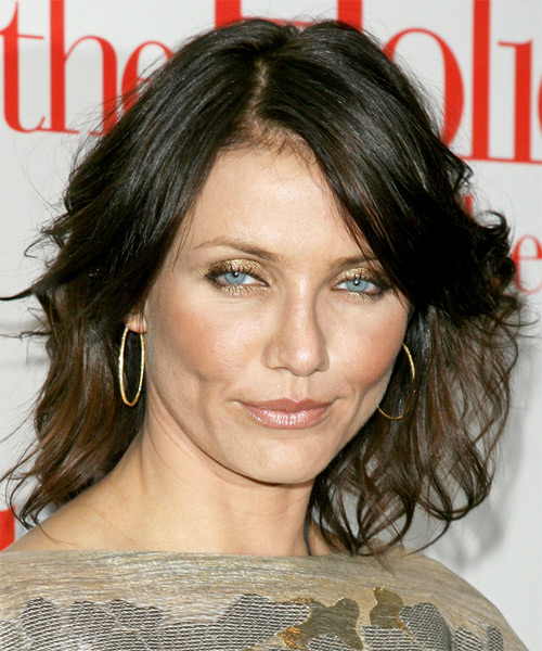 Cameron Diaz Medium Wavy Casual Hairstyle - Dark Brunette Hair Color