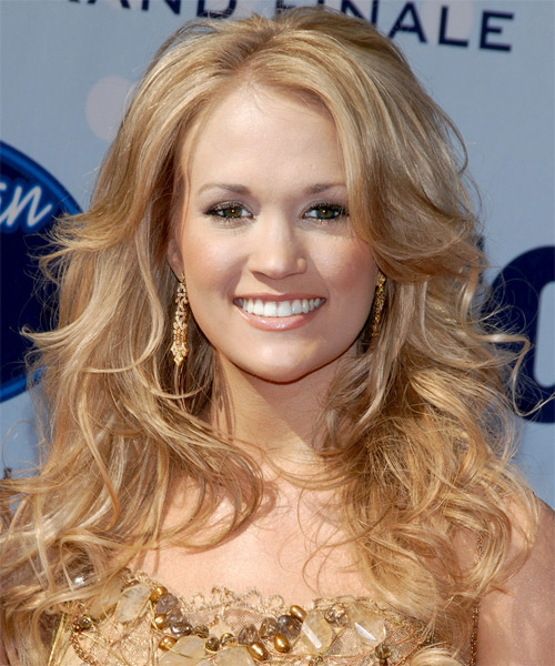 Carrie Underwood Long Wavy Hairstyle - Medium Blonde (Strawberry)