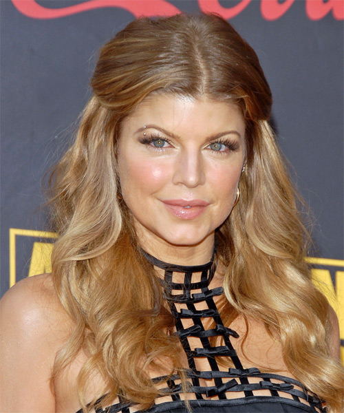 Fergie Long Wavy Formal Half Up Hairstyle