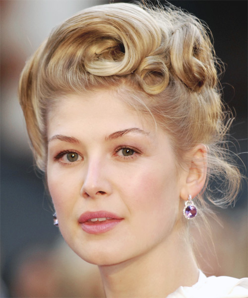 Rosamund Pike Long Curly Casual Hairstyle