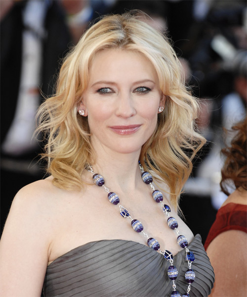 Cate Blanchett Medium Wavy Hairstyle - Light Blonde (Strawberry)