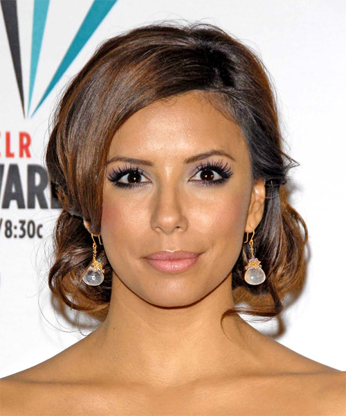 Eva Longoria Parker Long Wavy Formal Updo Hairstyle - Medium Brunette Hair Color