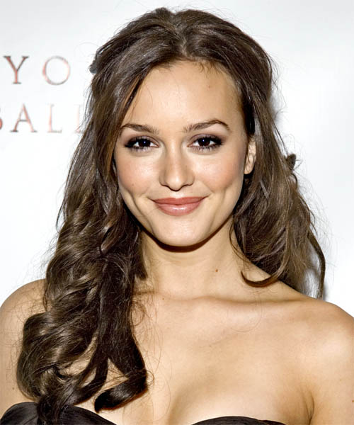 Leighton Meester Half Up Long Curly Hairstyle