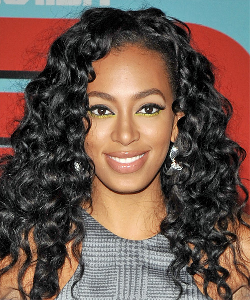Solange-Knowles - Formal Long Curly Hairstyle