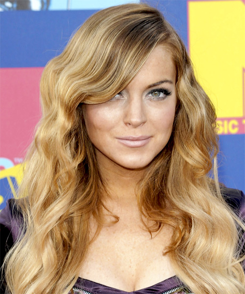 Lindsay Lohan Long Wavy Formal Hairstyle - Medium Blonde Hair Color