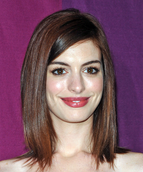 Anne Hathaway Long Straight Casual Hairstyle