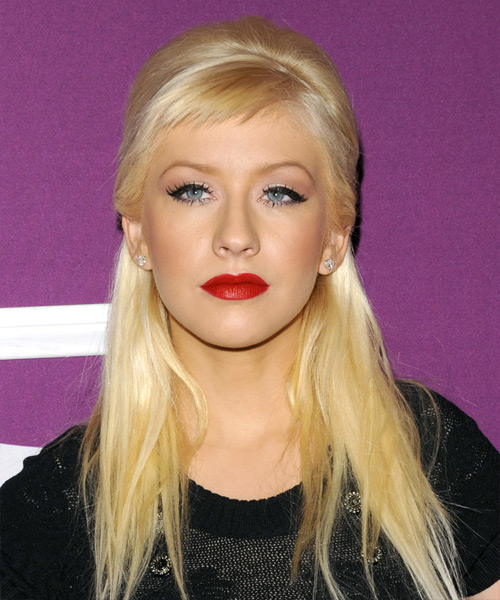 Christina Aguilera Half Up Long Straight Casual Half Up Hairstyle