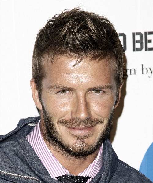 David Beckham Short Straight Casual Hairstyle - Medium Brunette (Ash) Hair Color