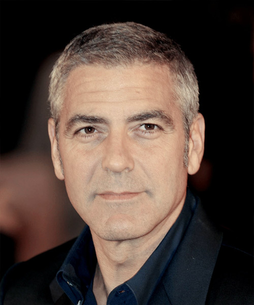 George Clooney Short Straight Hairstyle - Light Brunette (Salt and Pepper)