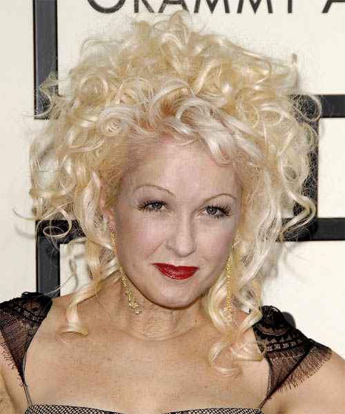 Cyndi Lauper Formal Curly Updo Hairstyle
