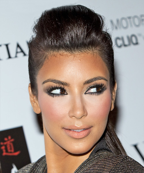 Kim Kardashian Updo Long Straight Formal Updo Hairstyle - Dark Brunette Hair Color