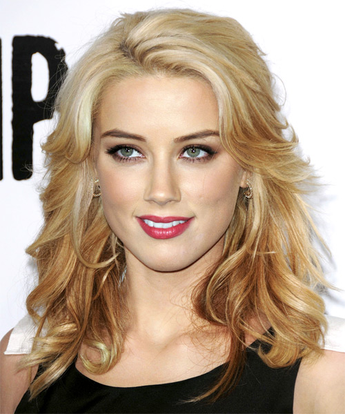 Amber Heard Long Wavy Formal Hairstyle