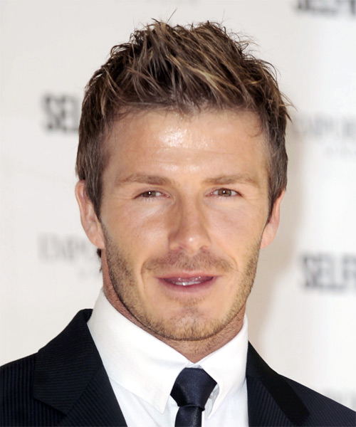 David Beckham Short Straight Casual Hairstyle - Medium Brunette Hair Color
