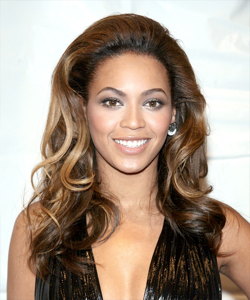Beyonce Knowles Long Wavy Formal Hairstyle - Dark Brunette (Chocolate) Hair Color