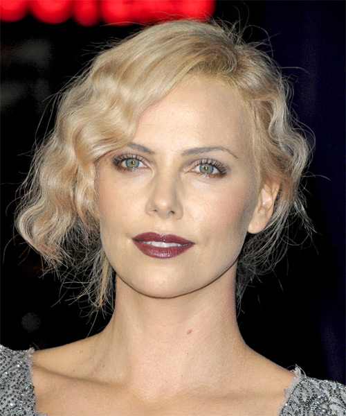 Charlize Theron - Casual Updo Medium Curly Hairstyle