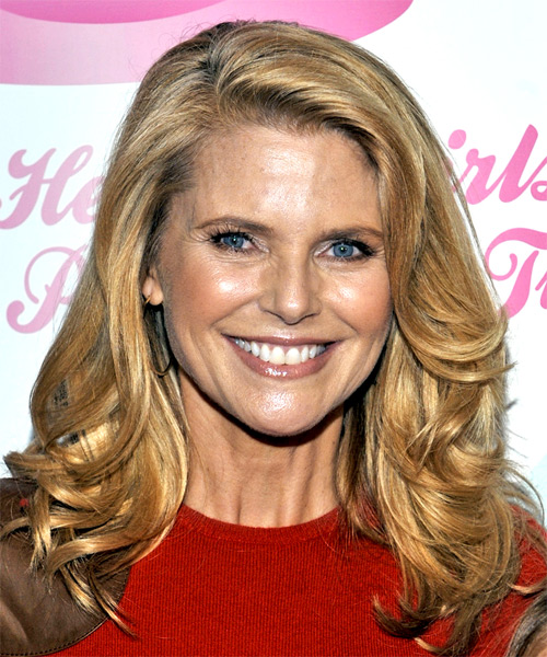 Christie Brinkley Long Wavy Casual Hairstyle - Dark Blonde (Golden) Hair Color