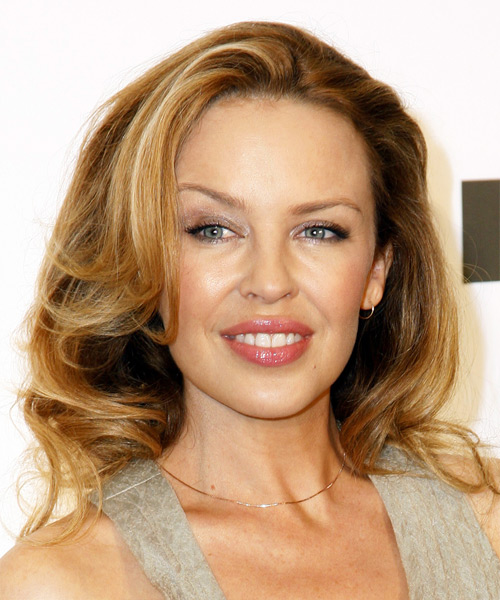 Kylie Minogue Long Wavy Hairstyle