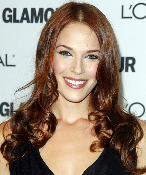 Amanda Righetti Long Wavy Formal Hairstyle - Medium Brunette (Chestnut) Hair Color