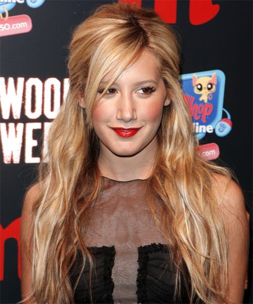 Ashley Tisdale Half Up Long Curly Hairstyle