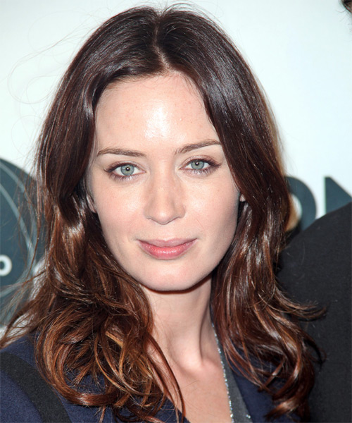 Emily Blunt - Wavy  Long Wavy Hairstyle - Medium Brunette (Chocolate)
