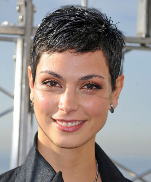 Morena Baccarin Short Straight Casual Hairstyle - Black (Ash) Hair Color