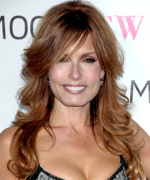 Long Hairstyles With Layers And Side Swept Bangs. Long side swept bangs are used