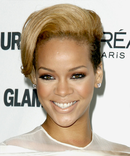 Rihanna Short Straight Alternative Undercut Hairstyle - Medium Blonde (Golden) Hair Color
