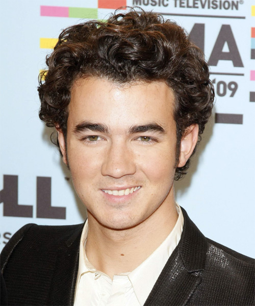 Kevin Jonas Short Wavy Formal Hairstyle - Medium Brunette (Chocolate) Hair Color