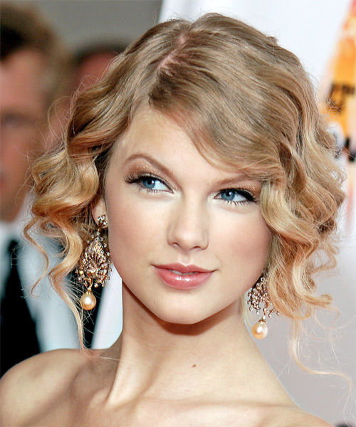 Taylor Swift Curly Formal Updo Hairstyle
