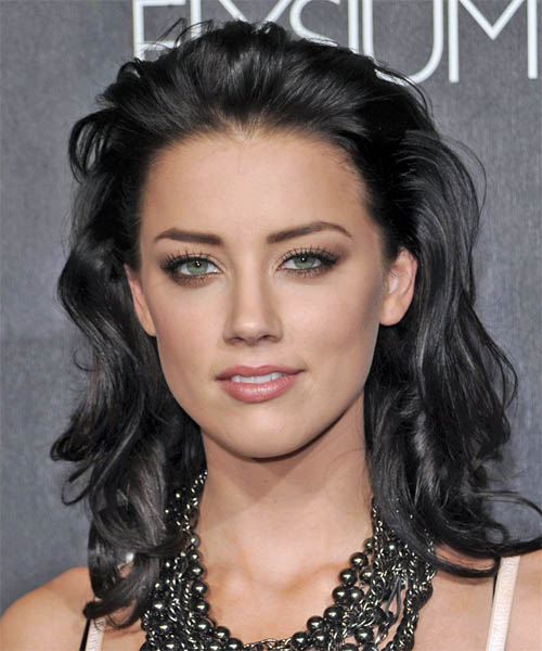 Amber Heard Long Wavy Hairstyle - Black