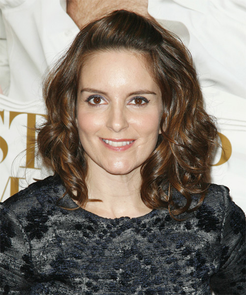 Tina Fey Half Up Long Curly Hairstyle