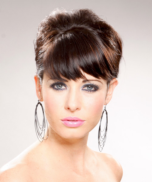 Straight Formal Updo Hairstyle with Side Swept Bangs - Dark Brunette (Chocolate) Hair Color
