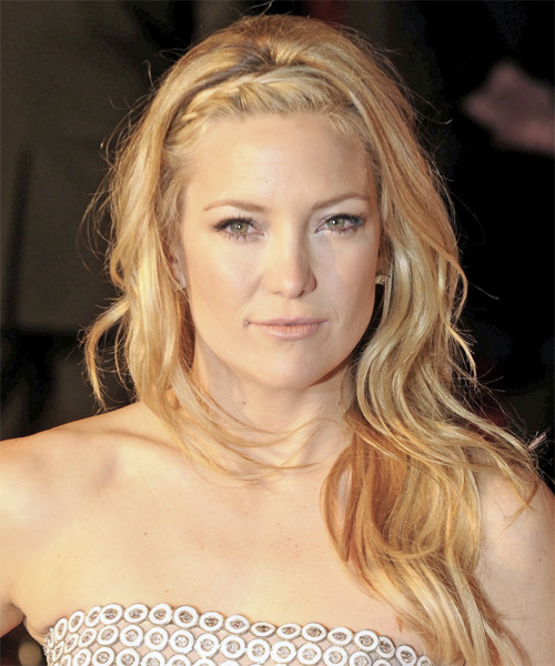 Kate Hudson Long Wavy Casual Hairstyle - Medium Blonde (Honey) Hair Color