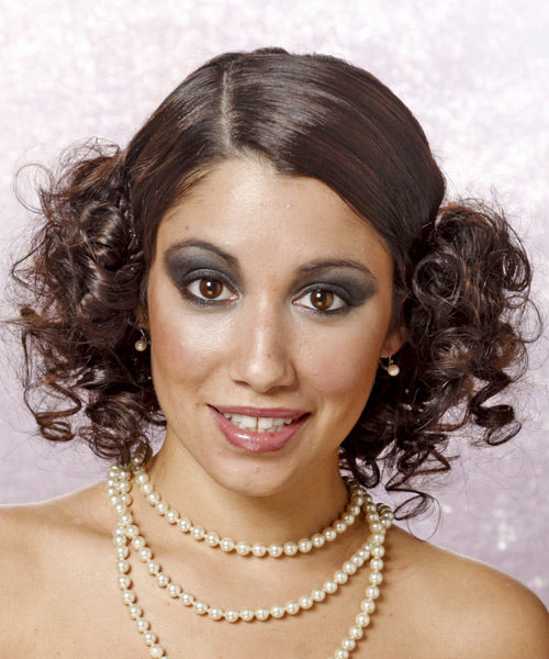 Updo Long Curly Formal  - Medium Brunette