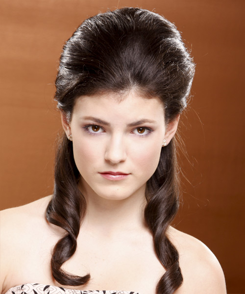 Updo Long Curly Formal Half Up Hairstyle - Medium Brunette (Chocolate) Hair Color